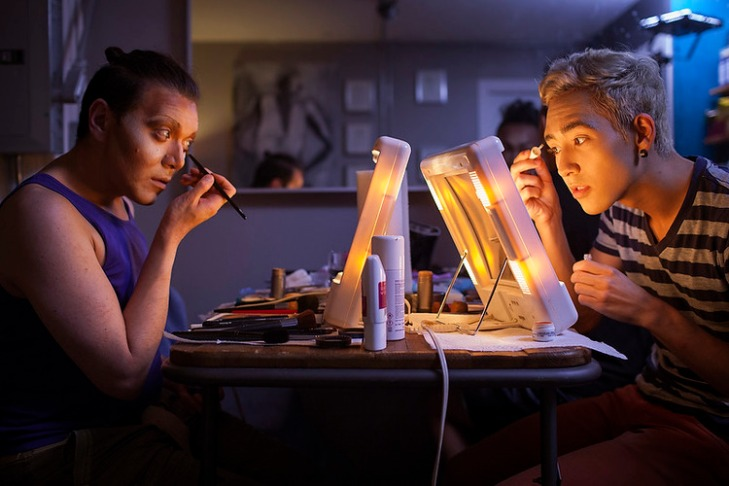 Alex and Nick (l-r), members of the Rice Rockettes, an Asian American drag performance troupe apply makeup as they prepares to transform in to Estée Longah and Kristi Yummy Kochi (l-r) for a drag performance at the Lookout bar, Thursday, 10 Sep. 2015 in San Francisco, CA, USA. (Peter DaSilva for NBC News)